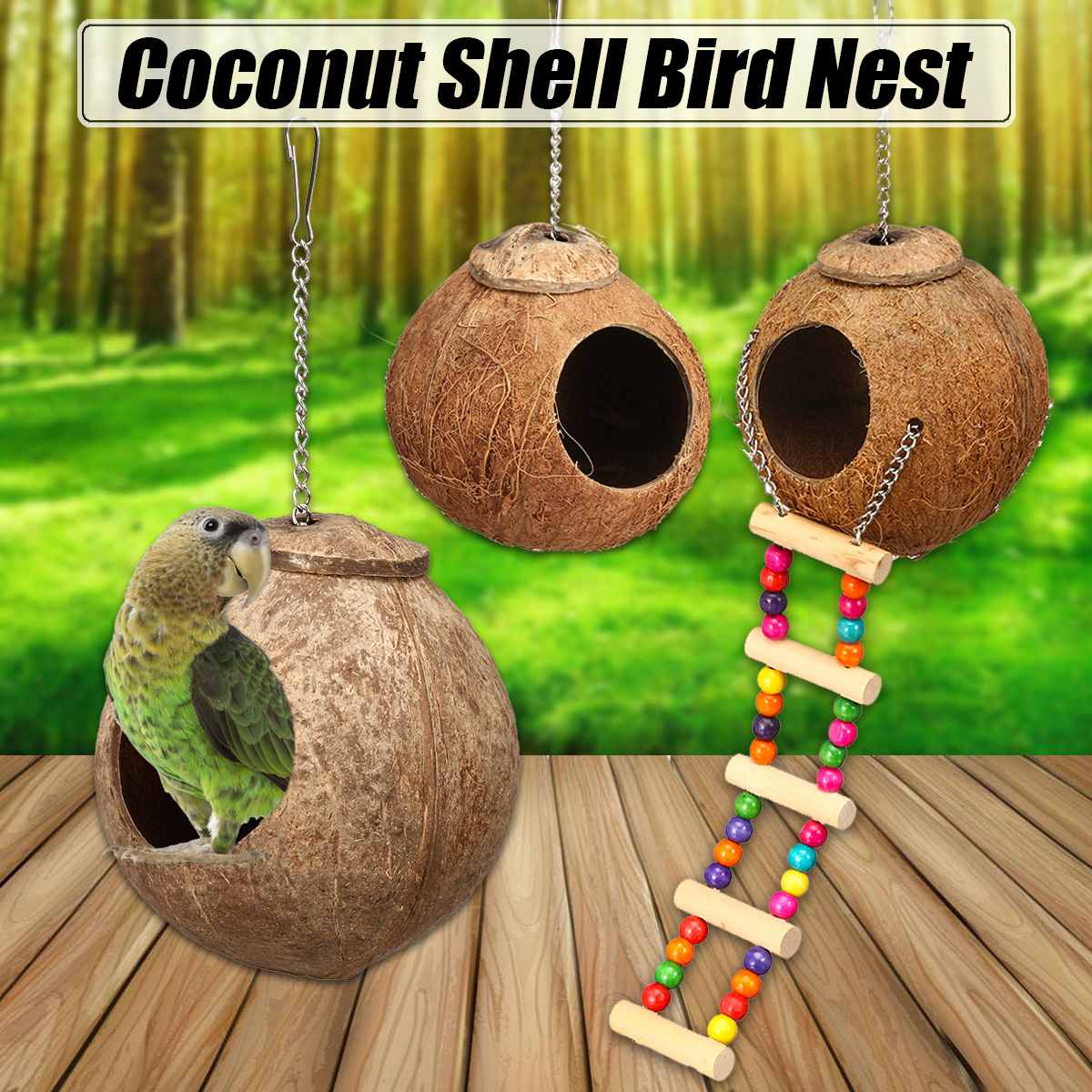 Natural Coconut Shell Bird Nest House Hut Cage Feeder Pet Parrot with Hanging Lanyard Parakeet House Supplies
