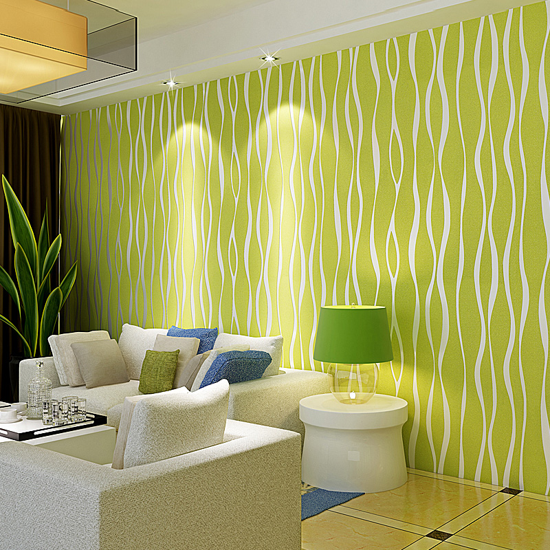Green striped wallpaper living room living room for Wallpaper decoration for home
