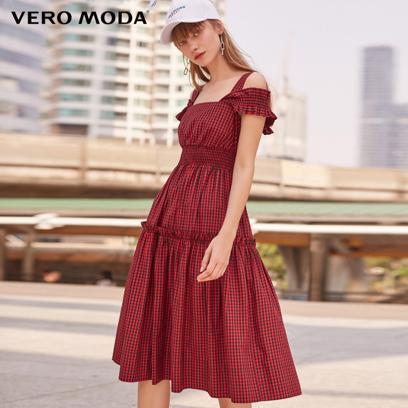 Vero moda primavera e no verão nova correia mulheres vestido xadrez | 31827A574