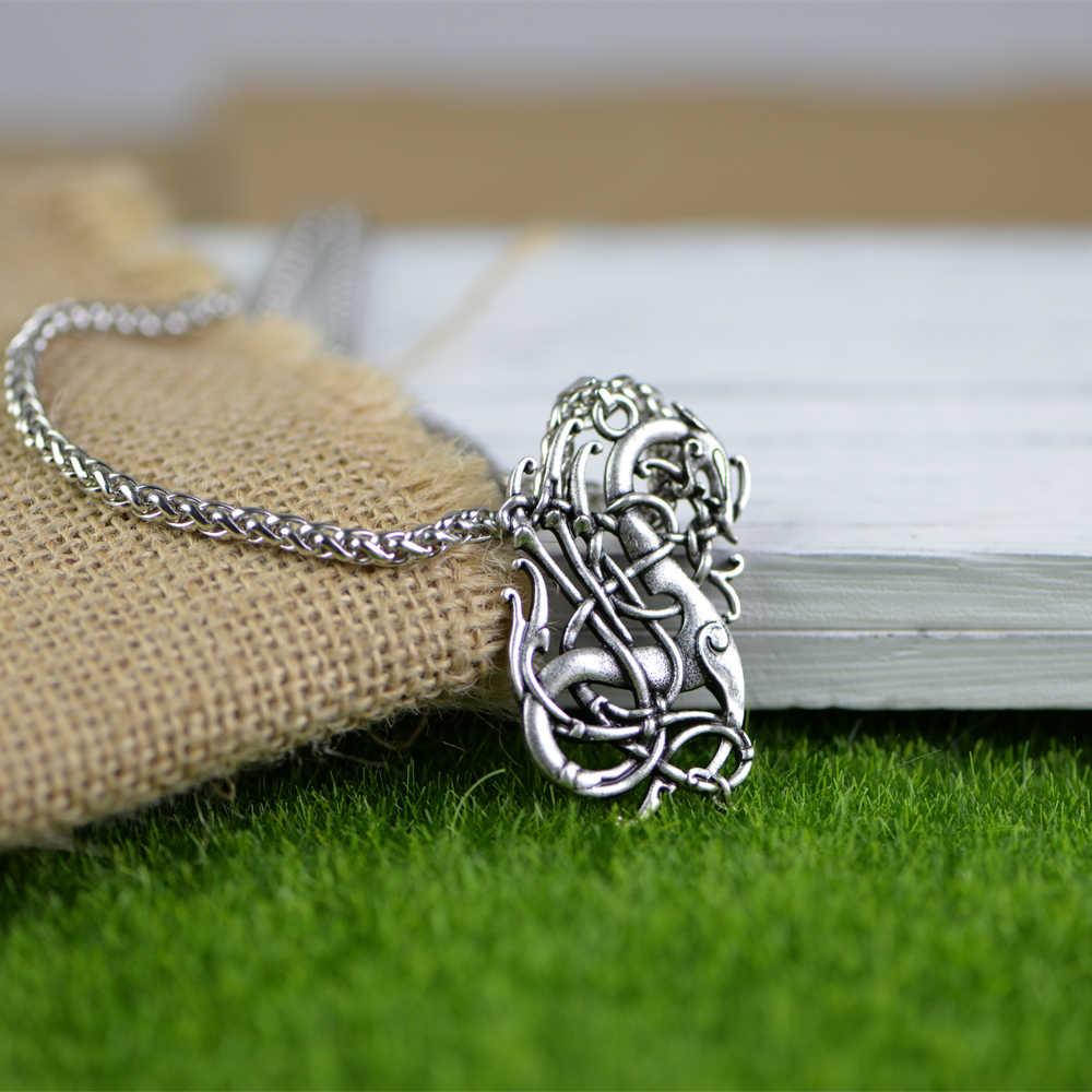 10 sztuk Nordic Viking naszyjnik duży smok skandynawii Viking Nordic talizman wisiorek Amulet naszyjnik