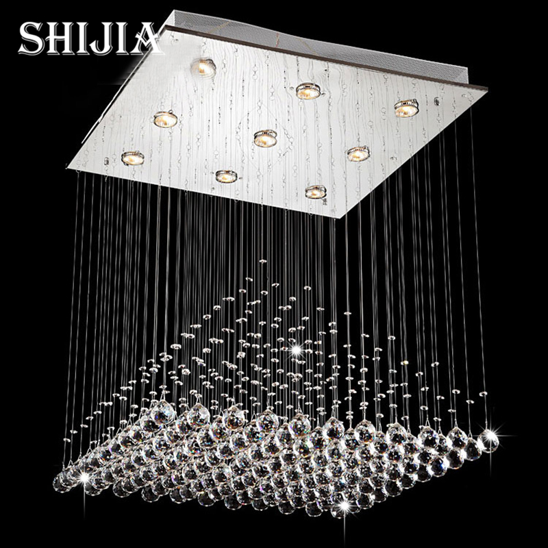 Modern Wave K9 Crystal Hanging Wire Ball Square Pendant Lamp Lighting Fixture Rain Drop Curtain Glass Chandelier LED Light