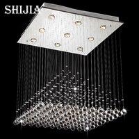 2014 Modern Wave K9 Crystal Hanging Wire Ball Square Pendant Lamp Lighting Fixture Rain Drop Curtain