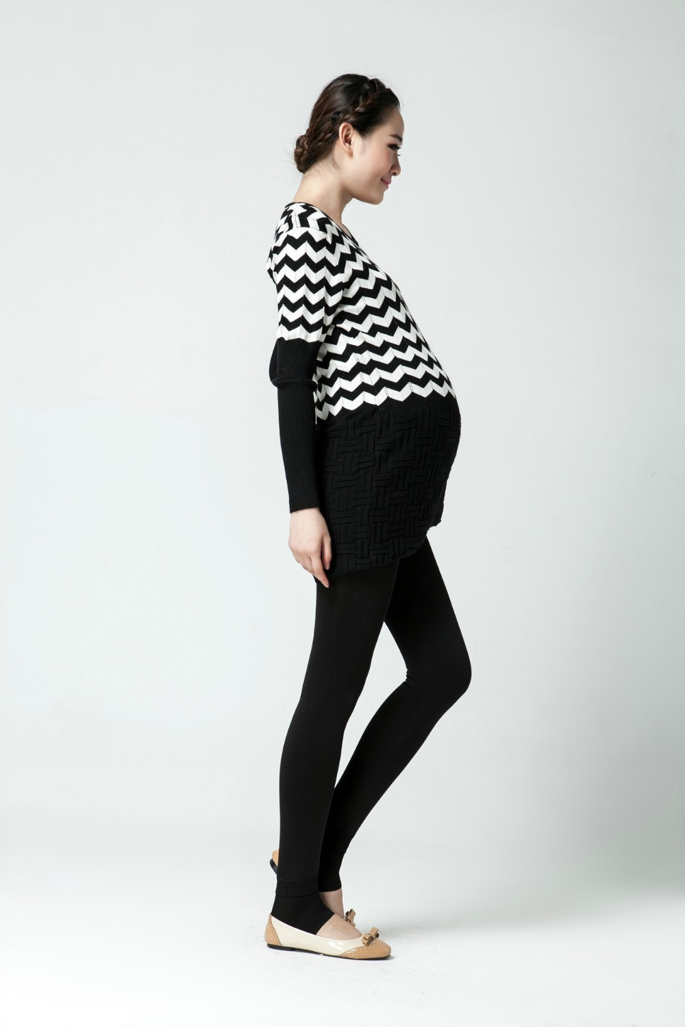 Women clothing maternity clothes winter Leggings thickened with velvet pregnant women trousers warm pants 9