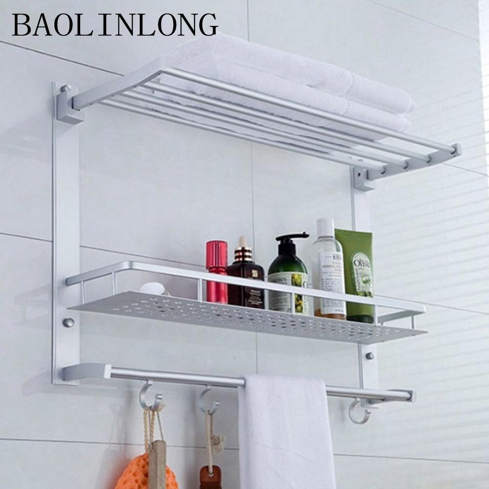BAOLINLONG Space Aluminum Shelf Brushed Bathroom Shelves Cosmetic Accessorie Towel