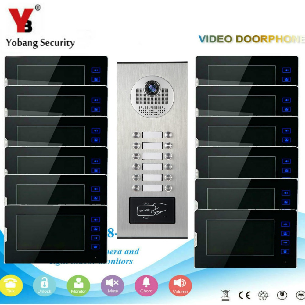 Yobang Security Video Door Phone intercom Wired 7''Inch LCD Monitor Display Screen Waterproof RFID Camera For Apartment/Home 7 video recording lcd screen video door phone intercom 3 screens rfid code ip65 strong waterproof home security ccd camera