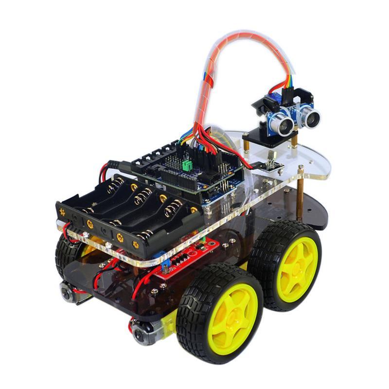 Multi-Fonctionnelle 4WD Robot Châssis De Voiture Kits UNO R3 170 point Mini planche à pain Pour Robot Kit de Montage de Voitures