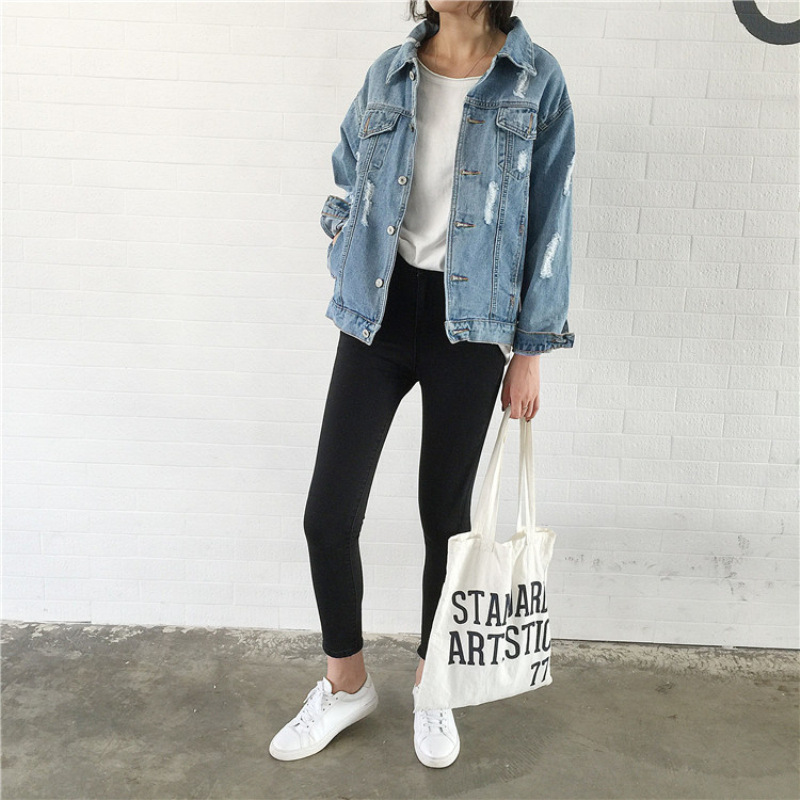 2019 Women   Basic     Jackets   Vintage Autumn Winter Windbreaker Denim Coat Ripped Holes   Jackets   Long Sleeve Cowboy BF Style Outwear