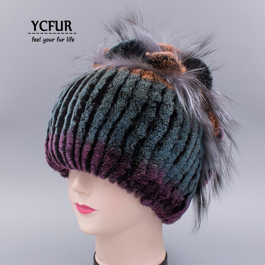YCFUR Women Real Fur Hats Caps Winter Warm Stripes Rex Rabbit Fur Beanies Fox Fur Cap Female Ear Protect Flower Hat Lady цена 2017