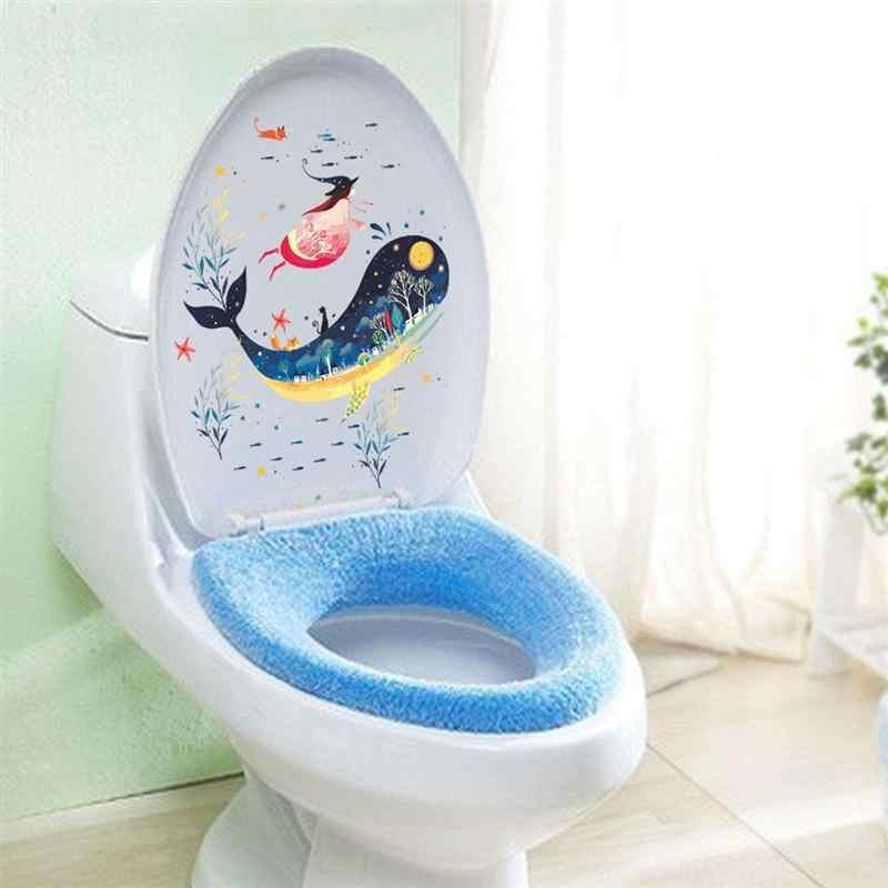 Съемный Виниловый DIY Художественный Декор под морем пейзажи мира Дельфин морские водоросли и девушка наклейки туалетный набор Обложка бумажный Декор