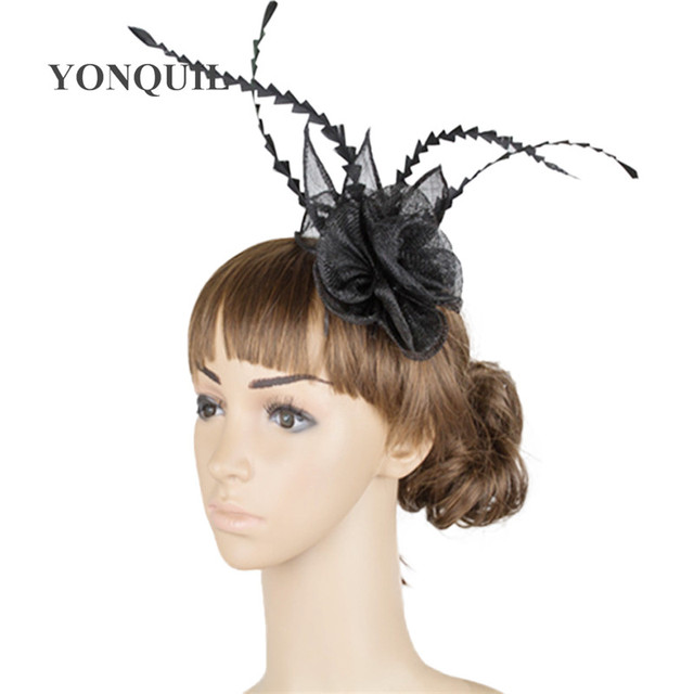 21 Colors Fashion Women small Chic rose Fascinator Hat Cocktail Wedding  Party Church fancy feather Headpiece hair combs TMYQ008 207c11aef56