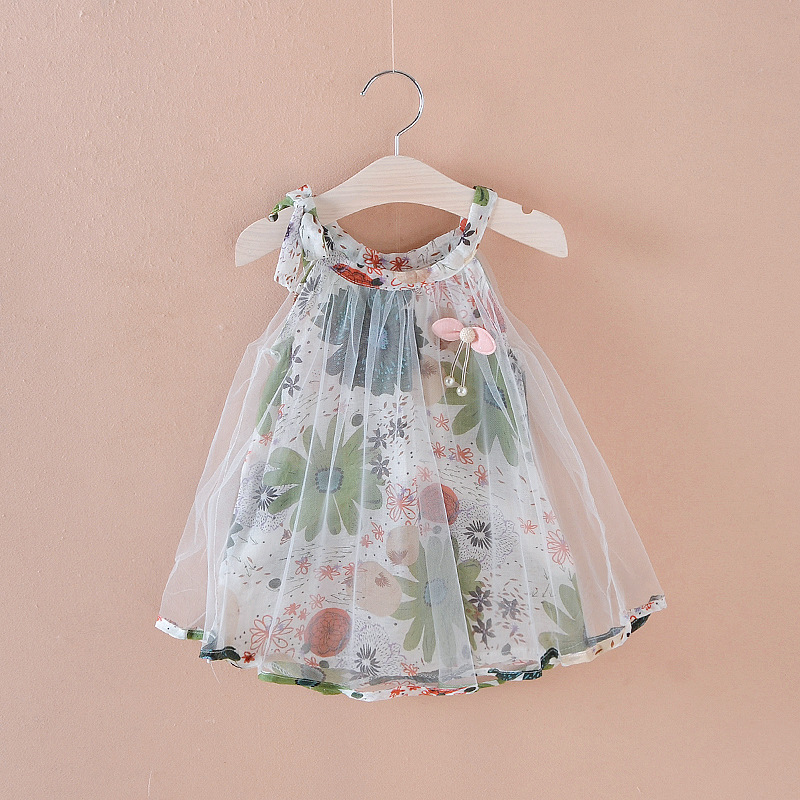 Summer Baby Girl Dress Princess Party Dress Mesh Children Clothes Floral Print Baby Costumes Holiday Kids Clothes Green Red Blue
