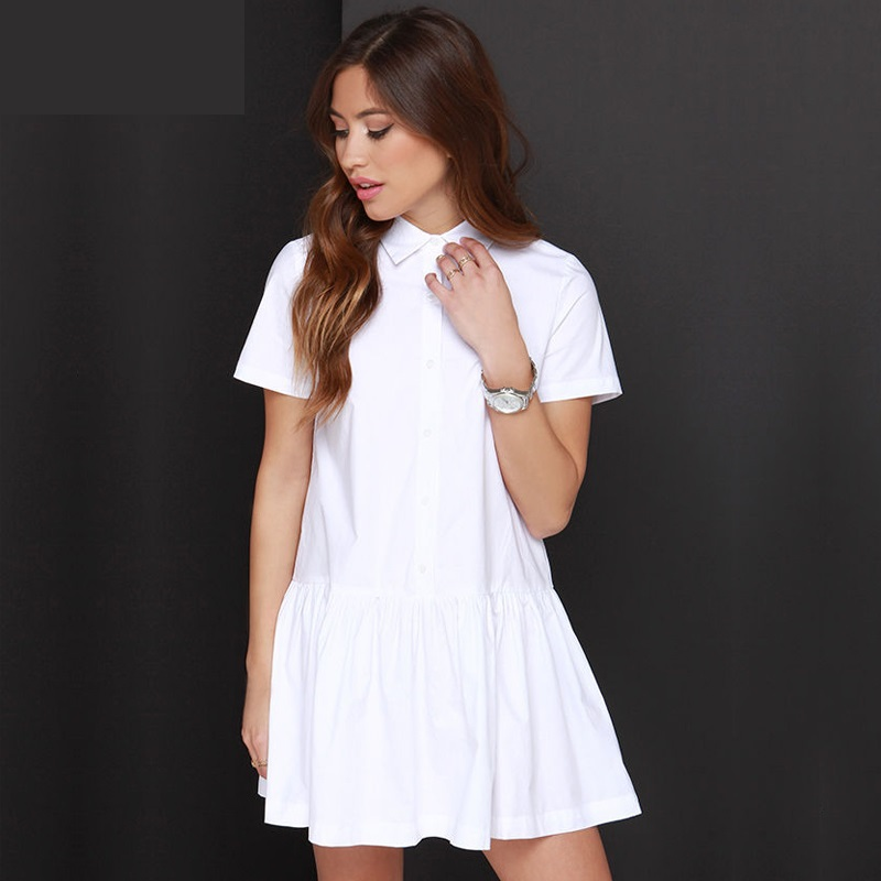 NEW Fashion Summer Casual White Shirt Dress Women Short Sleeve Dress Female Waisted Dress Frock Vestido Female Y0718-69E
