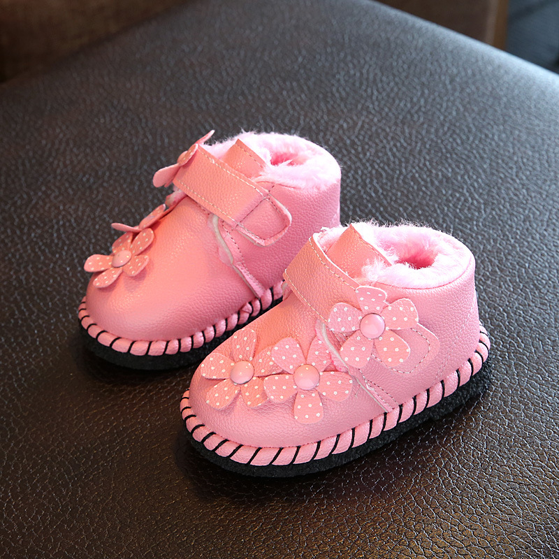 Baby Shoes for Girls First Walkers Snow Winter Boots Flower Baby Pink Infant Kids Fur Warm Crib Shoe Toddler Moccasins Leather