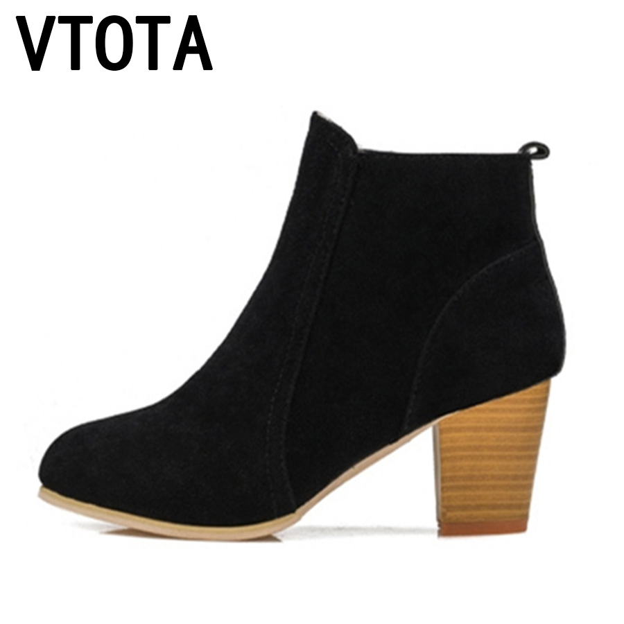 VTOTA Fashion Ankle Boots for Women 2017 Round Toe Boots Spring Autumn High Heels Platform Shoes Woman Zip Sexy Women Boots X281
