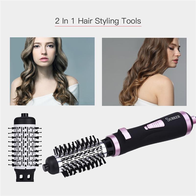 2 en 1 multifonctionnel électrique sèche-cheveux brosse rouleau rotation Styler peigne redressage fer à friser outils de coiffure