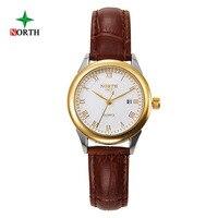 NORTH Women Fashion Casual Watch 30M Waterproof Luxury Brand Quartz Watches Genuine Leather Women Dress Wristwatch