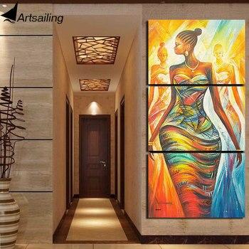 ArtSailing HD المطبوعة 3 قطعة قماش اللوحة مجردة المرأة الأفريقية الصورة وحدات قماش مطبوعات لل لغرفة المعيشة ديكور