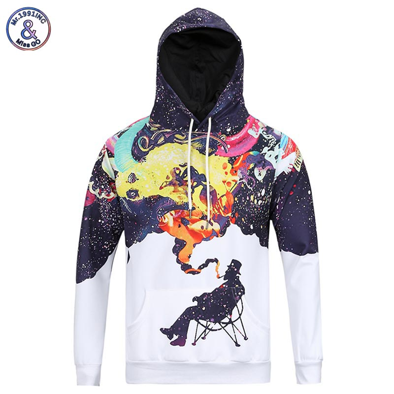 Mr 1991INC New Arrivals Men s Long Sleeve Autumn Winter Pullovers Funny Print Smoking Person Hoody