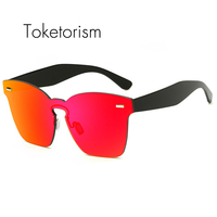 Toketorism Big Frame Sunglasses Square Mirror Lenses Fashion Luxury Men Sunglasses Women 0289