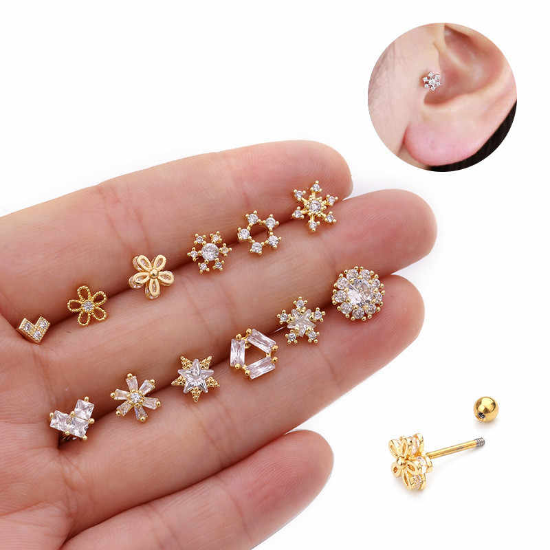 TTLIFE Various Crystal Flower Cartilage Piercing Helix Jewelry Stainless Steel CZ Ear Stud Tragus Cartilage Conch Earring Stud