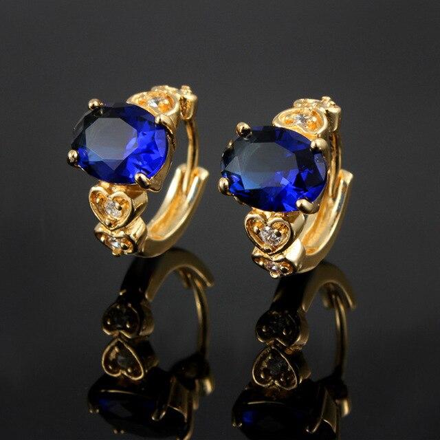 Oval cut CZ pendientes del aro del pendiente de oro amarillo plateado azul cristalino de las mujeres de joyería de moda