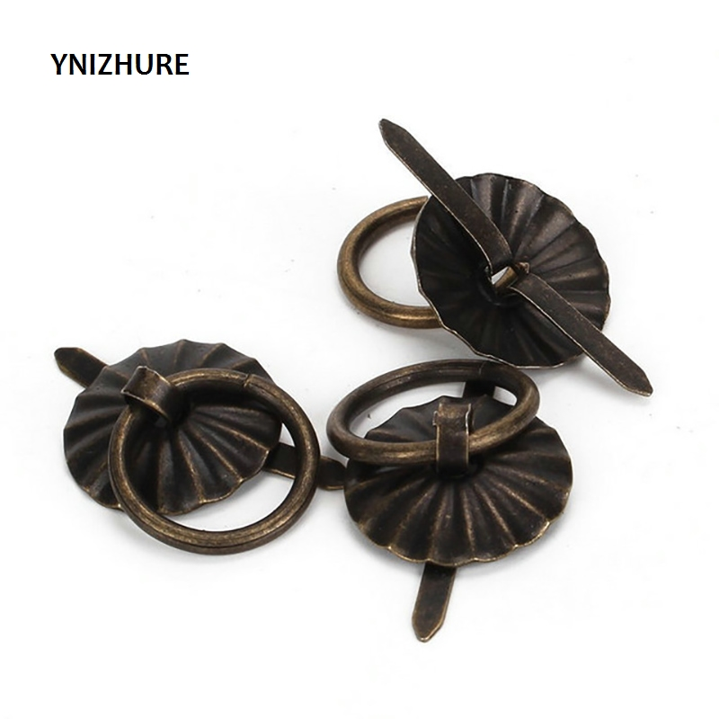 2018 Sale 50pcs 19mm Vintage Metal Tin Box Decorated Handle Mini Drawer Door Ring Pulls 0.74 Iron Jewelry Storage Wooden Case nrh4207 air box handle aluminum box wooden box ring toolbox handle chrome plated iron no spring function