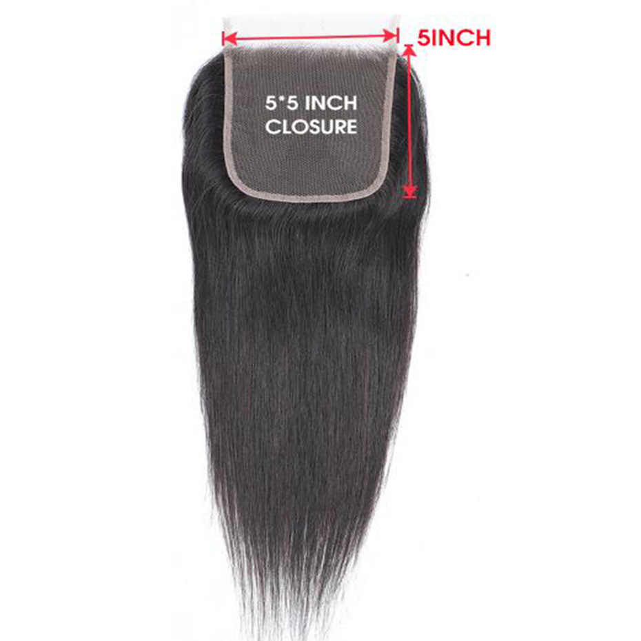 Ably 5x5 Straight Human Hair Lace Closure Natural Color Brazilian Remy Hair Closure Free Part Pre plucked With Baby Hair