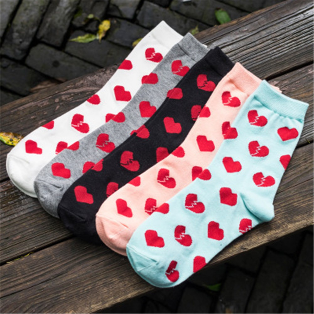 ChamsGend 2018 New Womens Socks Cartoon Love Heart Shap Series Cute Fashion Sock Comfortable Dropship Compression Socks