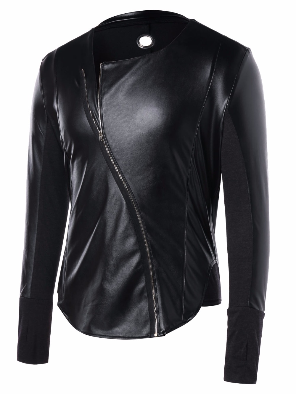 ff30739e2 Personality Pu Leather Jacket Men Punk Show Stage Clothes Jaqueta  Motoqueiro Windbreaker Male Jacket