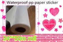 """24 """"* 50m china fornecedores impressora offset impressão inkjet papel pp mate com adesivo traseiro"""