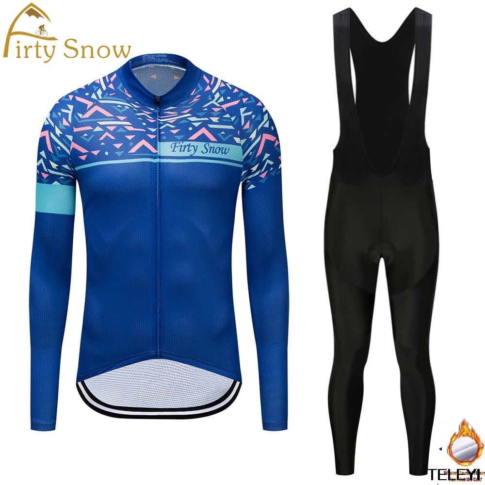 Firty snow 2018 Pro Fabric Cycling Winter Thermal Fleece Jersey Long Set Ropa Ciclismo Bike Bicycle Clothing Pants Keep Warm W01