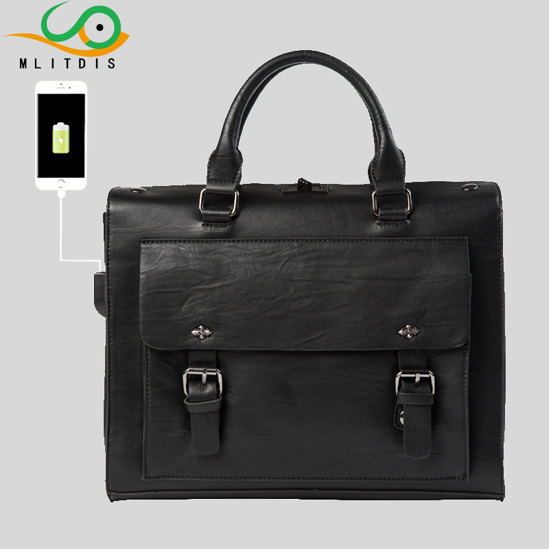 ФОТО MLITDIS Brand External USB Charge Leather Men Bags Shoulder Casual Male Leather Black men's Briefcases Laptop Bag Handbags Totes