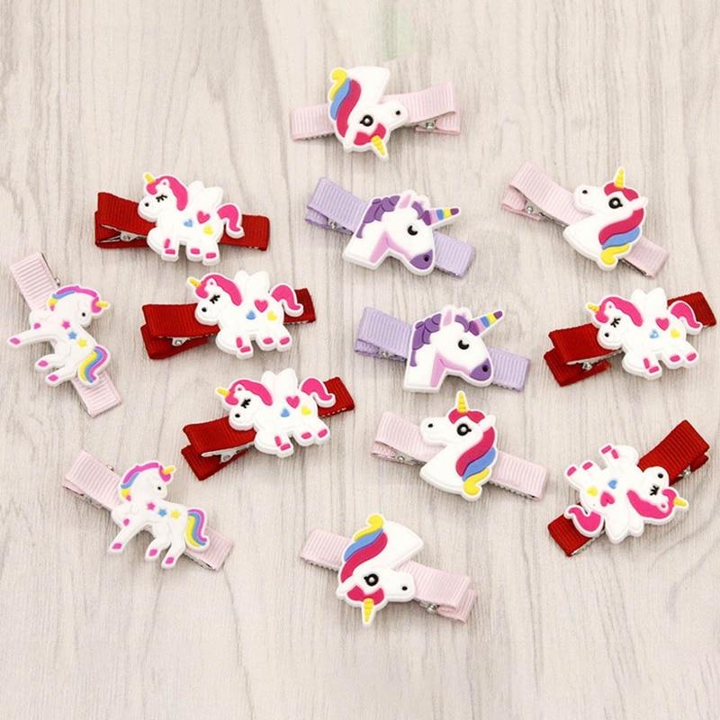 10PCS 4 Colors Glitter Horse Hairclips Cartoon Animal Hair Clips Cute Plastic Hairpins Kids Headwear Hair Accessories