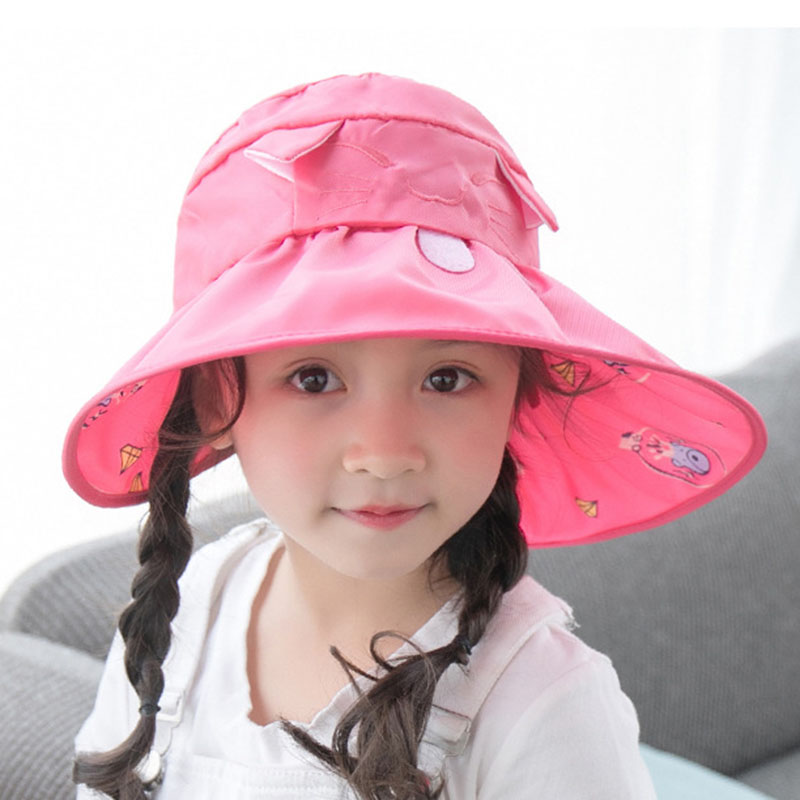 Summer Toddler Girls Sun hat Baby Girls Wide Brim Visor Sun Hat UV Protection Foldable Kids Girls Beach Cap wide brim straw hat