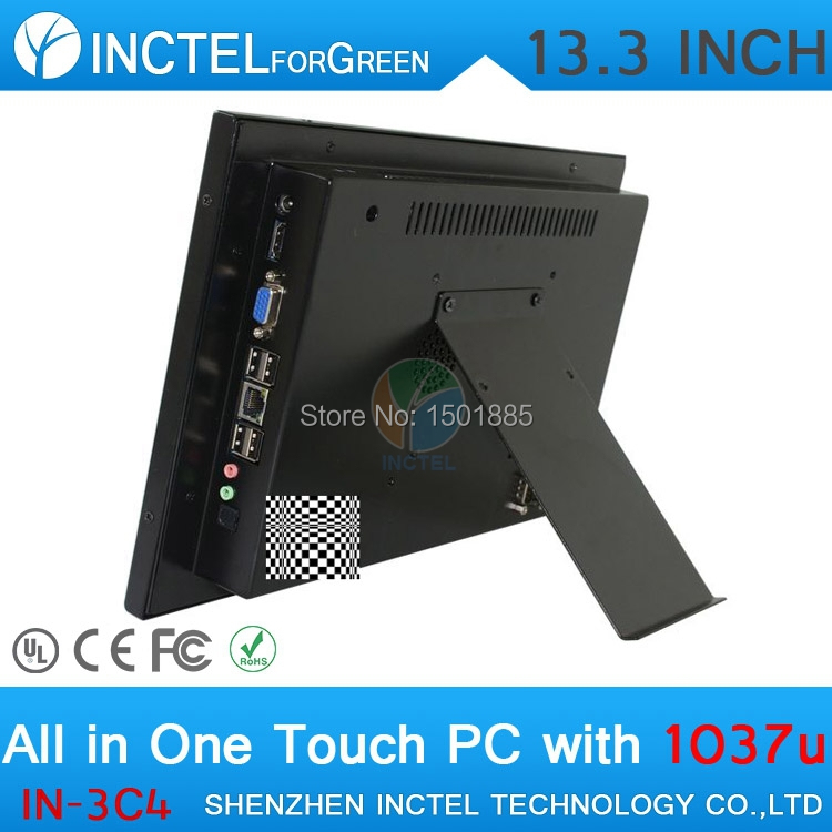 13,3 дюймов все-в-одном POS промышленный 4-х проводной сенсорный экран компьютера 1280*800 4G Оперативная память 64G SSD