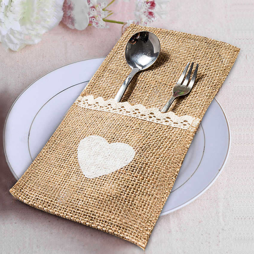 10Pcs/Lot Jute Wedding Decoration Vintage Rustic Cutlery Pocket Knife Fork Burlap Wedding Decoraton Table Party Supplies