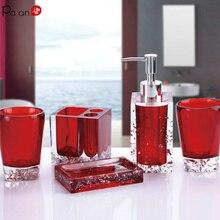 Crystal Ice Flower Bathroom Accessories Set 5pcs Soap Dish Dispenser Toothbrush Holder Tumbler Wash Kit Transparent Acrylic