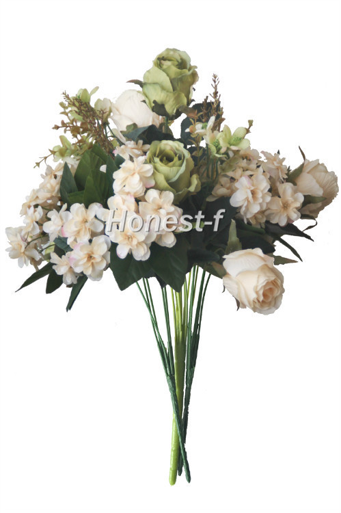 Artificial multi coloured rose silk flowers bounquet mixed artificial multi coloured rose silk flowers bounquet mixed arrangement home hotel room wedding decorationwhite and green in artificial dried flowers mightylinksfo
