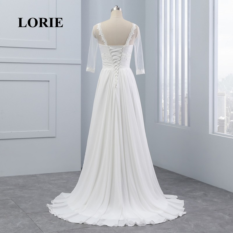 LORIE Φορέματα νυφικά με μανίκια Scoop A-line - Γαμήλια φορέματα - Φωτογραφία 5