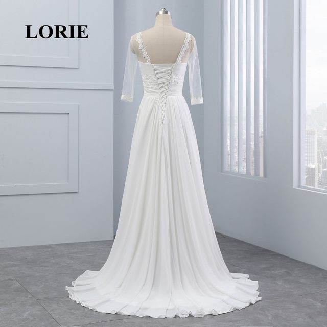 Online Shop LORIE Wedding Dresses with Sleeves Scoop A-Line ...