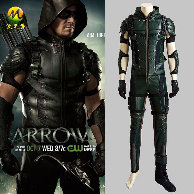 Calidad superior Flecha Verde Temporada 4 Oliver Queen Cosplay - Disfraces - foto 1
