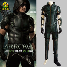 Top Quality Green Arrow Season 4 Oliver Queen Cosplay Costume Upgraded Version Leather Hoodie Jacket Costume For Halloween Dress