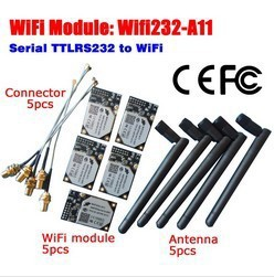 цена на hot selling Serial ttl RS232 to 802.11 b/g/n Converter Embedded WiFi Module CE FCC W Antenna