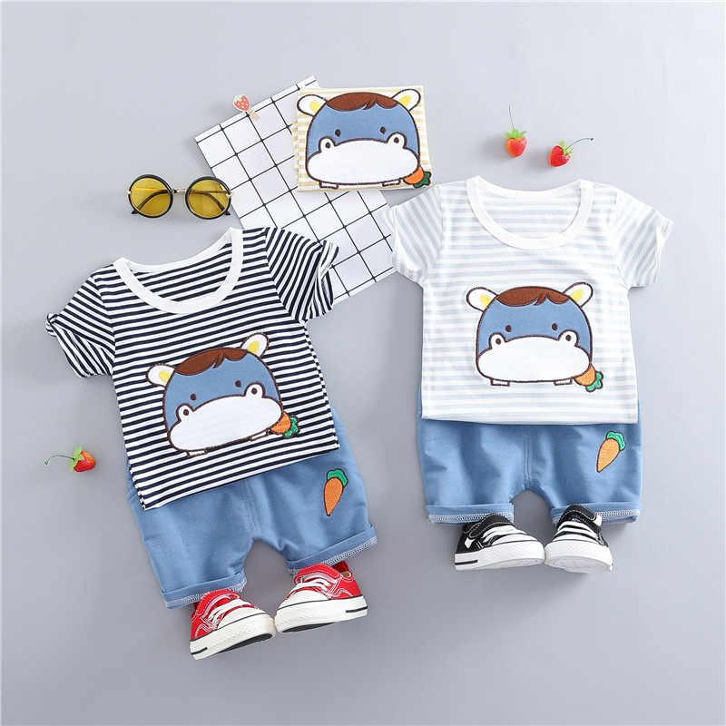 1st วันเกิดทารกแรกเกิดเสื้อผ้าเด็กทารกฤดูร้อนชุดเสื้อยืด + ชุดกางเกงขาสั้นสำหรับทารกเสื้อผ้าเด็กทารกเสื้อผ้าแฟชั่นการออกแบบชุด