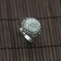 925 Silver Restoring Ancient Ways Buddhist Sanskrit Six Words Ring All Silver Index Finger Ring Men