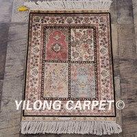 Yilong 1.5'x2' turkey silk hand knotted carpet small handmade rug (LH55A1.5x2)