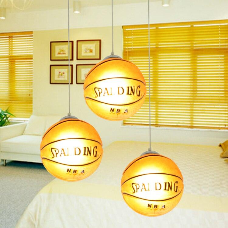 Lampes suspendues de basket lampes suspendues de chambre d'enfant lampe suspendue de chambre d'enfant LED chinois lampe pendante de boule de verre basket-ball - 5