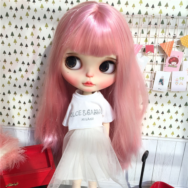 TBL Neo Blythe Doll Straight Pink Hair Regular & Jointed Body