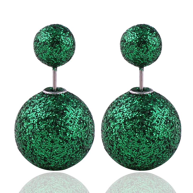 New Arrival Candy Colors Double Sides Pearl Earrings Luxurious Gold Big Ball Gilt edged Double Ball