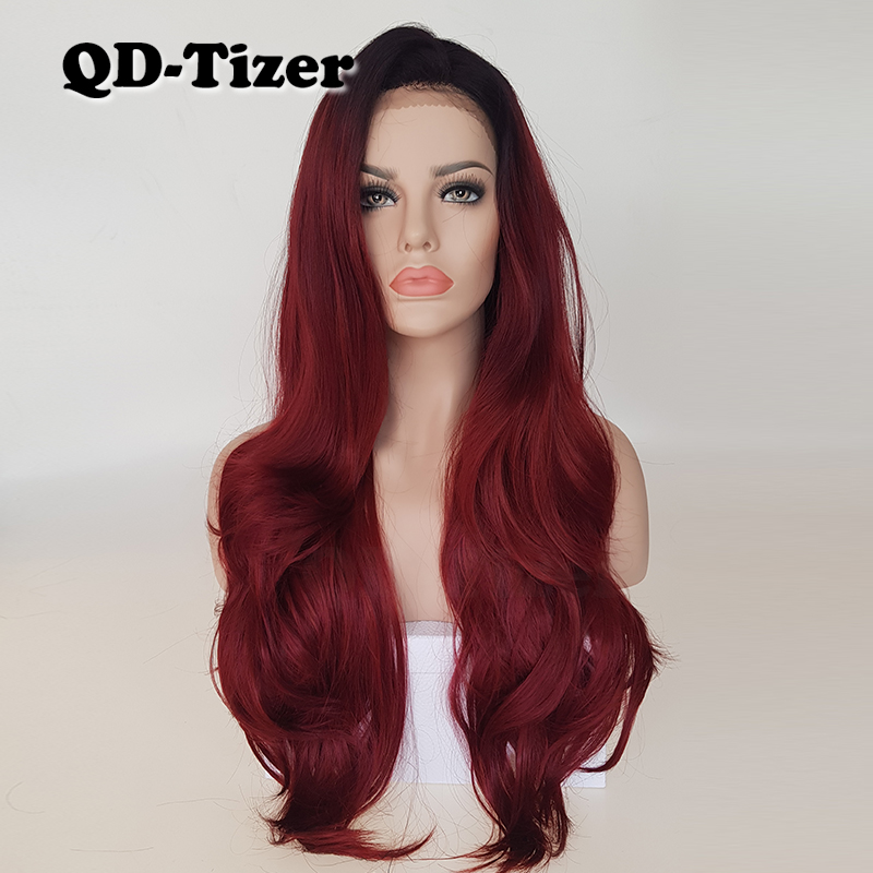 QD Tizer Burg Ombre Wavy Hair Fashion Color Heat Resistant Synthetic Lace Front Wigs Glueless Free